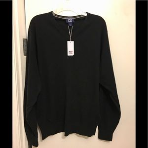 NWT Men Cutter & Buck Knit Sweater. Black.  L/G
